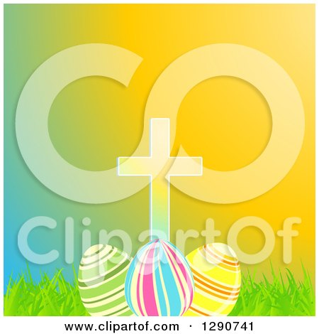 Clipart of a Cross over 3d Easter Eggs, Grass and Colorful Gradient - Royalty Free Vector Illustration by elaineitalia