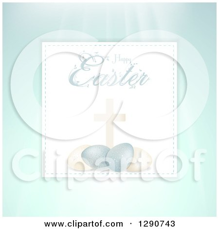 Clipart of a Happy Easter Text over a Cross and 3d Eggs on Paper over Rays and Pastel - Royalty Free Vector Illustration by elaineitalia