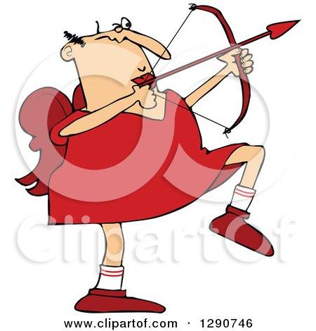 Clipart of a Chubby Caucasian Cupid Aiming an Arrow - Royalty Free Vector Illustration by djart