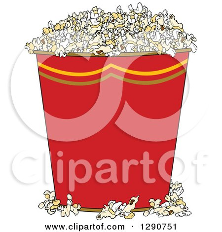 Clipart of a Red Bucket of Popcorn - Royalty Free Vector Illustration by djart