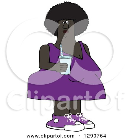 Clipart of a Chubby Black Woman in a Purple Dress, Holding a Fountain Soda - Royalty Free Vector Illustration by djart