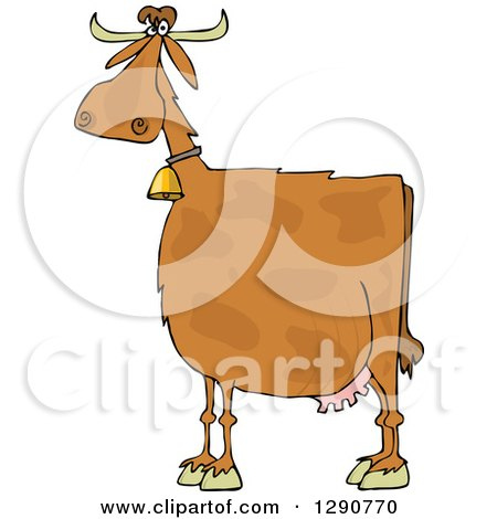 Clipart of a Spotted Brown Cow Wearing a Bell - Royalty Free Vector Illustration by djart