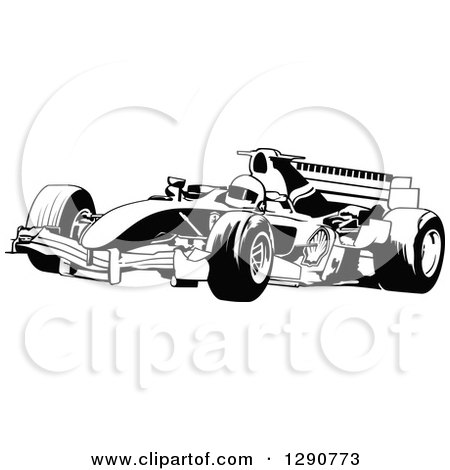 Clipart of a Black and White Race Car and Driver Facing Left 2 - Royalty Free Vector Illustration by dero