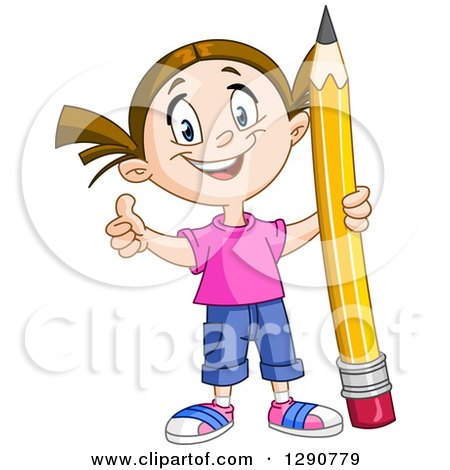 Clipart of a Happy Brunette Caucasian School Girl Holding a Thumb up and a Giant Pencil - Royalty Free Vector Illustration by yayayoyo