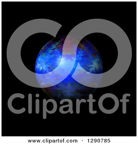 Clipart of a 3d Blue Fractal Sphere on Black - Royalty Free Illustration by oboy