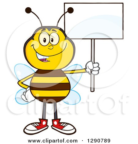 Clipart of a Happy Honey Bee Holding up a Blank Sign - Royalty Free Vector Illustration by Hit Toon