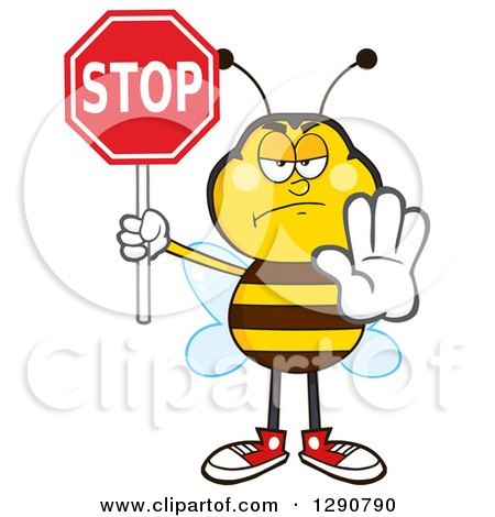 Clipart of a Stern Honey Bee Gesturing and Holding a Stop Sign - Royalty Free Vector Illustration by Hit Toon