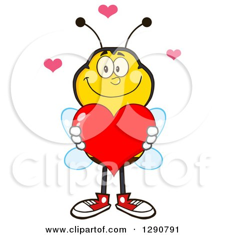 Clipart of a Happy Honey Bee Holding a Valentine Love Heart - Royalty Free Vector Illustration by Hit Toon
