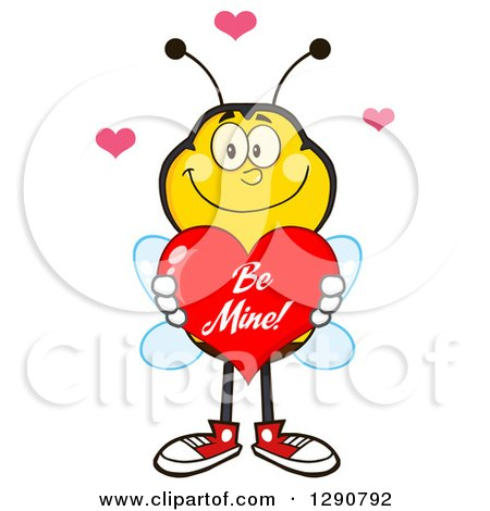 Clipart of a Happy Honey Bee Holding a Be Mine Valentine Love Heart - Royalty Free Vector Illustration by Hit Toon