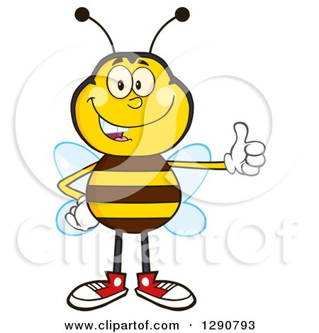 Clipart of a Happy Honey Bee Giving a Thumb up - Royalty Free Vector Illustration by Hit Toon