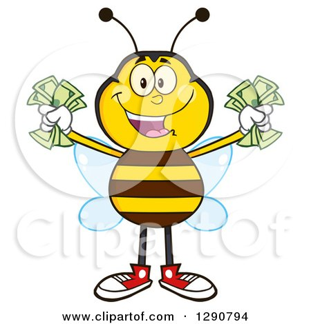 Clipart of a Happy Honey Bee Holding Handfuls of Cash - Royalty Free Vector Illustration by Hit Toon