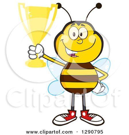 Clipart of a Happy Honey Bee Holding up a Gold Trophy - Royalty Free Vector Illustration by Hit Toon