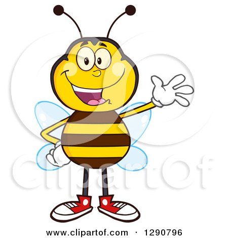 Clipart of a Happy Honey Bee Waving - Royalty Free Vector Illustration by Hit Toon
