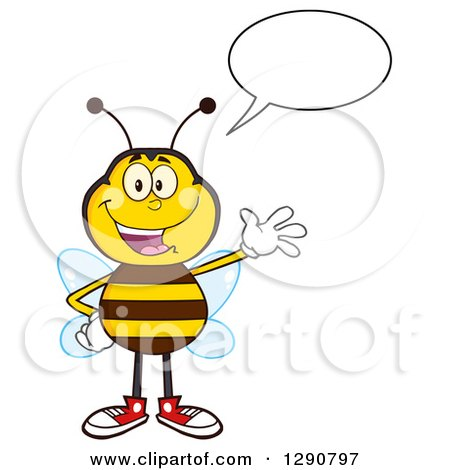Clipart of a Happy Talking Honey Bee Waving - Royalty Free Vector Illustration by Hit Toon