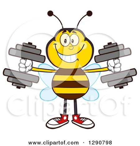 Clipart of a Happy Honey Bee Working out with Dumbbells - Royalty Free Vector Illustration by Hit Toon