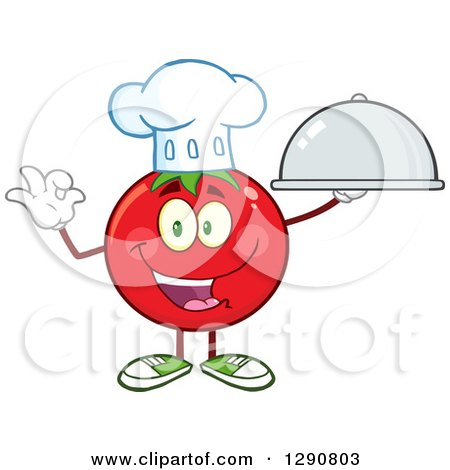 Clipart of a Happy Tomato Chef Character Holding a Cloche and Gesturing Ok - Royalty Free Vector Illustration by Hit Toon