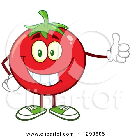 Clipart of a Happy Tomato Character Giving a Thumb up - Royalty Free Vector Illustration by Hit Toon