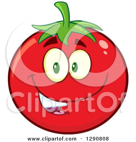 Clipart of a Happy Tomato Character Smiling - Royalty Free Vector Illustration by Hit Toon