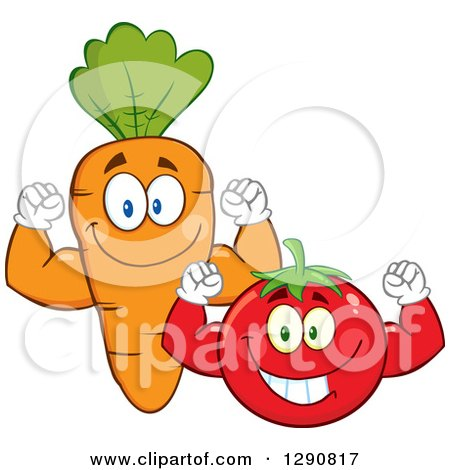 Clipart of Happy Tomato and Carrot Characters Flexing Their Muscles - Royalty Free Vector Illustration by Hit Toon