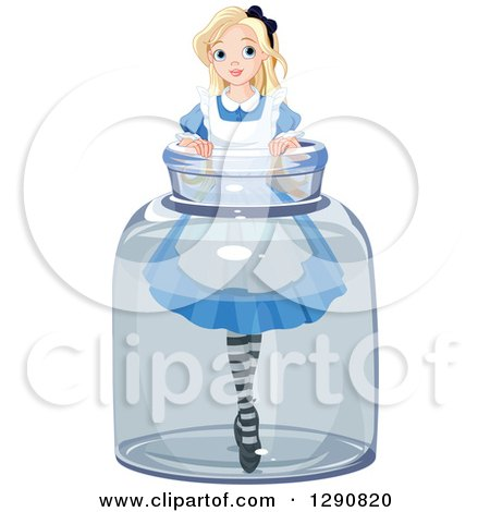 Clipart of a Tiny Blond Alice in a Jar - Royalty Free Vector Illustration by Pushkin