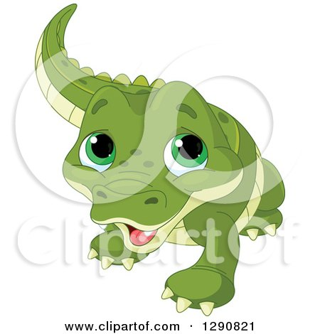 Clipart of a Cute Green Eyed Baby Alligator - Royalty Free Vector Illustration by Pushkin