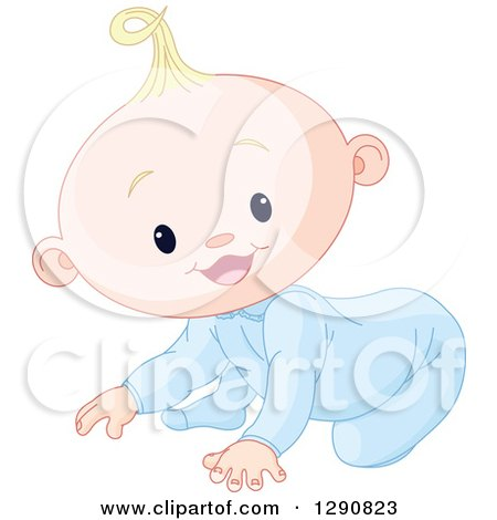 Clipart of a Cute Happy Blond Caucasian Baby Boy Crawling - Royalty Free Vector Illustration by Pushkin