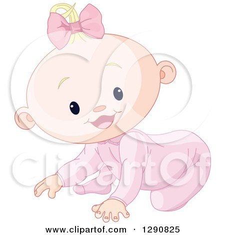 Clipart of a Cute Happy Blond Caucasian Baby Girl Crawling - Royalty Free Vector Illustration by Pushkin