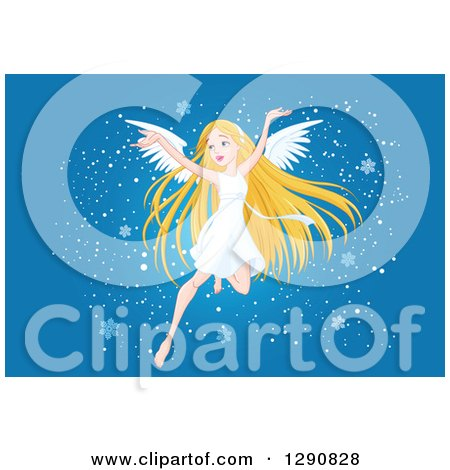 Clipart of a Happy Blond White Angel Flying with Snowflakes on Blue - Royalty Free Vector Illustration by Pushkin