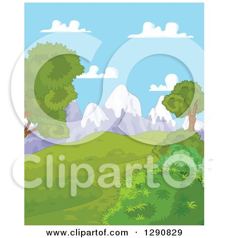 Clipart of a Lush Green Hilly Spring Time Landscape with Snow Capped Mountains and Blue Sky - Royalty Free Vector Illustration by Pushkin