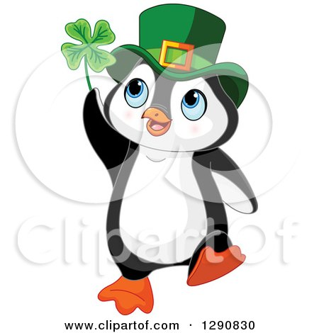 Clipart of a Cute St Patricks Day Leprechaun Penguin Holding a Four Leaf Clover - Royalty Free Vector Illustration by Pushkin