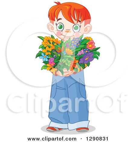 Clipart of a Sweet Red Haired White Boy Holding a Heart Shaped Flower Bouquet for Valentines or Mothers Day - Royalty Free Vector Illustration by Pushkin
