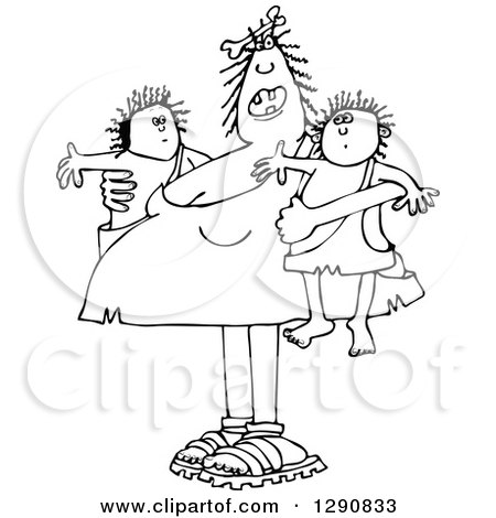 Clipart of a Chubby Black and White Cavewoman Mom Holding Twin Boys - Royalty Free Vector Illustration by djart