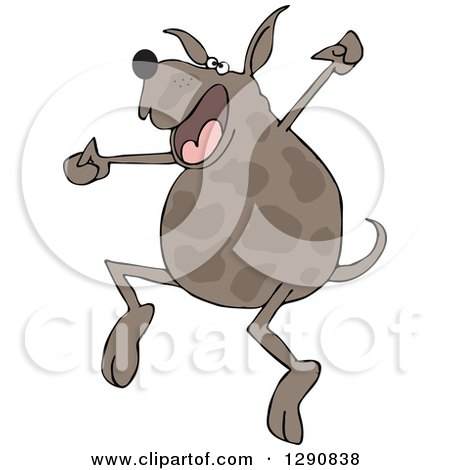 Clipart of a Happy Brown Spotted Dog Jumping for Joy - Royalty Free Vector Illustration by djart