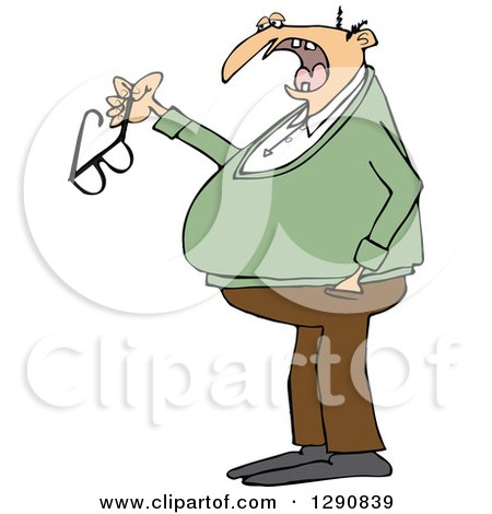 Clipart of a Chubby Senior Caucasian Man Talking and Holding His Glasses - Royalty Free Vector Illustration by djart