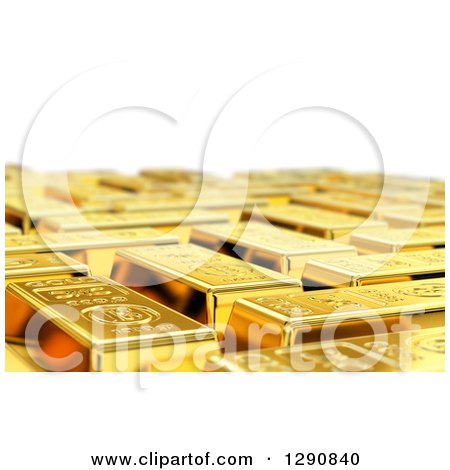Clipart of a 3d Background of Gold Bars with a Shallow Depth of Field, over White - Royalty Free Illustration by stockillustrations