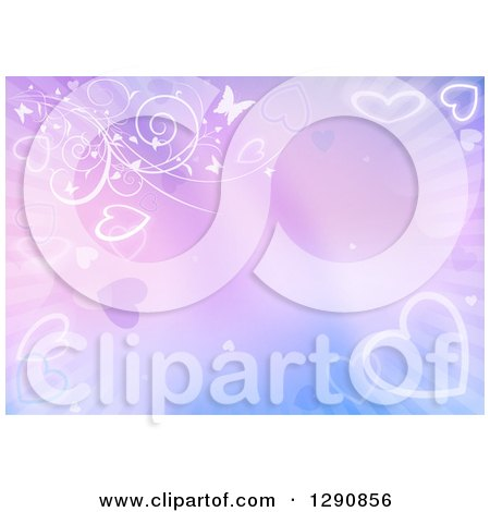 Clipart of a Background of Glowing Hearts on Gradient Blue and Purple with Floral Vines, Rays and Butterflies - Royalty Free Vector Illustration by dero