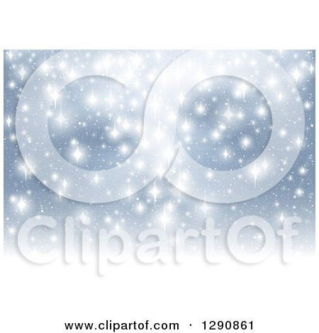 Clipart of a Background of Bright White Sparkling Lights over Blue - Royalty Free Vector Illustration by dero