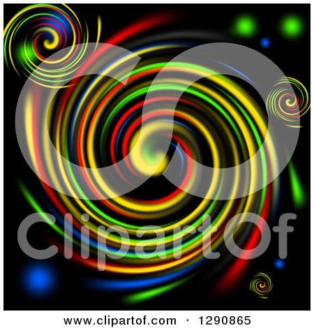 Clipart of a Background of Vibrant Colorful Swirls on Black - Royalty Free Illustration by oboy