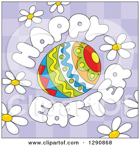 Clipart of a Patterned Egg with Cartoon Happy Easter Text and Daisy Flowers over Purple Checkers - Royalty Free Vector Illustration by Alex Bannykh