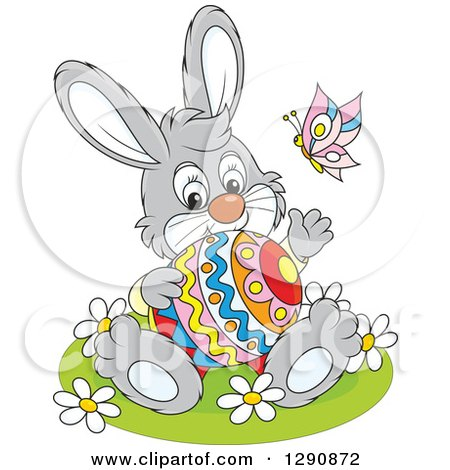 Clipart of a Happy Cartoon Gray Bunny Rabbit Holding an Easter Egg and Waving - Royalty Free Vector Illustration by Alex Bannykh