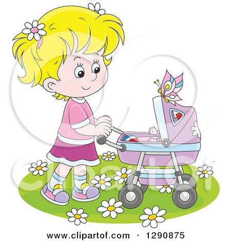 Clipart of a Blond Caucasian Girl Pushing a Doll or Baby in a Carriage in the Spring Time - Royalty Free Vector Illustration by Alex Bannykh