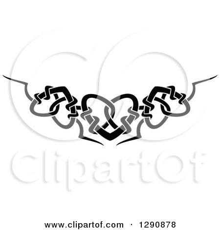 Clipart of a Black and White Tribal Heart Border Design - Royalty Free Vector Illustration by Vector Tradition SM