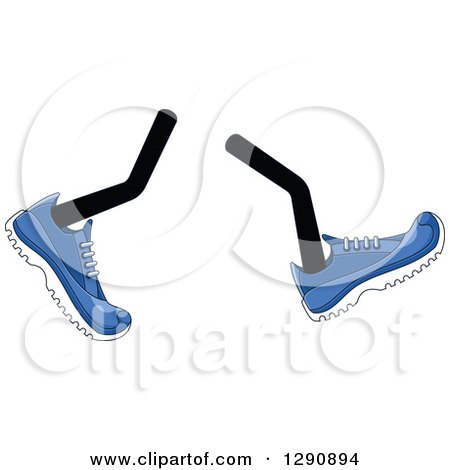 Clipart of a Pair of Walking Legs Wearing Blue Tennis Shoes - Royalty Free Vector Illustration by Vector Tradition SM