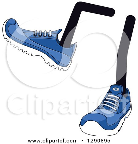 Clipart of a Pair of Legs Wearing Blue Tennis Shoes 7 - Royalty Free Vector Illustration by Vector Tradition SM