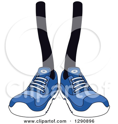 Clipart of a Pair of Legs Wearing Blue Tennis Shoes - Royalty Free Vector Illustration by Vector Tradition SM