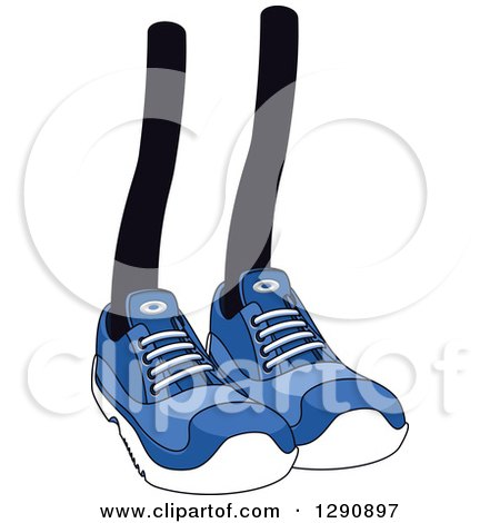 Clipart of a Pair of Legs Wearing Blue Tennis Shoes 2 - Royalty Free Vector Illustration by Vector Tradition SM