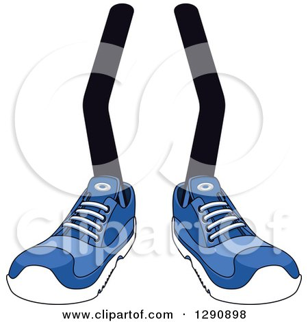Clipart of a Pair of Legs Wearing Blue Tennis Shoes 3 - Royalty Free Vector Illustration by Vector Tradition SM