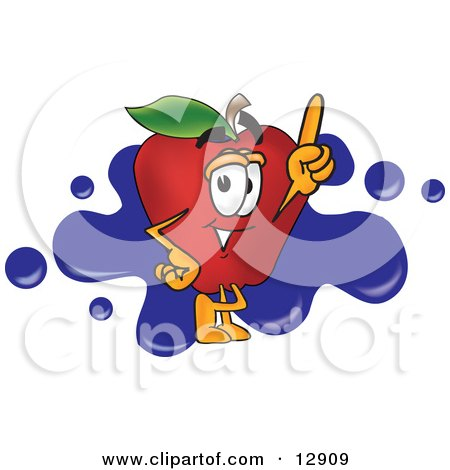 Clipart Illustration of a Red Apple Character Mascot Logo With Blue Paint Splatters by Toons4Biz