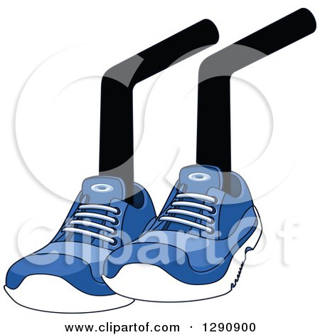 Clipart of a Pair of Sitting Legs Wearing Blue Tennis Shoes - Royalty Free Vector Illustration by Vector Tradition SM