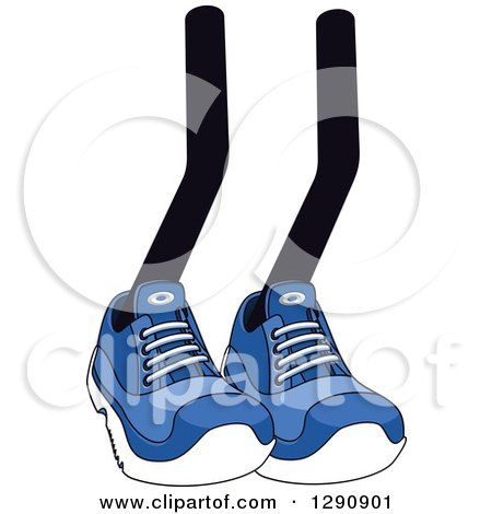 Clipart of a Pair of Legs Wearing Blue Tennis Shoes 5 - Royalty Free Vector Illustration by Vector Tradition SM